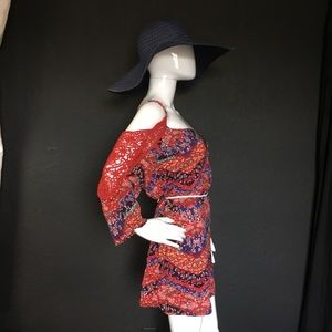 Boho Print Shift Dress / Tunic With Crotchet
